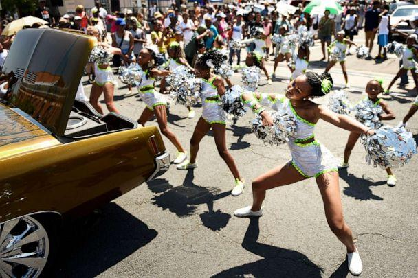 PHOTO: In this June 20, 2015, file photo, the Denver Dancing Diamonds perform during the Juneteenth Celebration parade in Denver. (Joe Amon/The Denver Post via Getty Images, FILE)