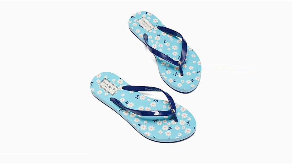 Nothing says summer like printed flip-flops—on sale now for a super-low price.