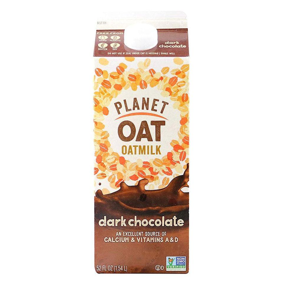 """<p><strong>Planet Oat</strong></p><p>amazon.com</p><p><a href=""""http://www.amazon.com/dp/B07KNKDBJ2/?tag=syn-yahoo-20&ascsubtag=%5Bartid%7C1782.g.28638254%5Bsrc%7Cyahoo-us"""" rel=""""nofollow noopener"""" target=""""_blank"""" data-ylk=""""slk:BUY NOW"""" class=""""link rapid-noclick-resp"""">BUY NOW</a></p><p>You might be thinking milk is not a snack or find it hard to get into the whole oatmilk concept—but trust, you will be converted. A tall glass of dark chocolate can satisfy your sweet tooth and offer more nutrition than something else you might grab from the pantry. </p>"""