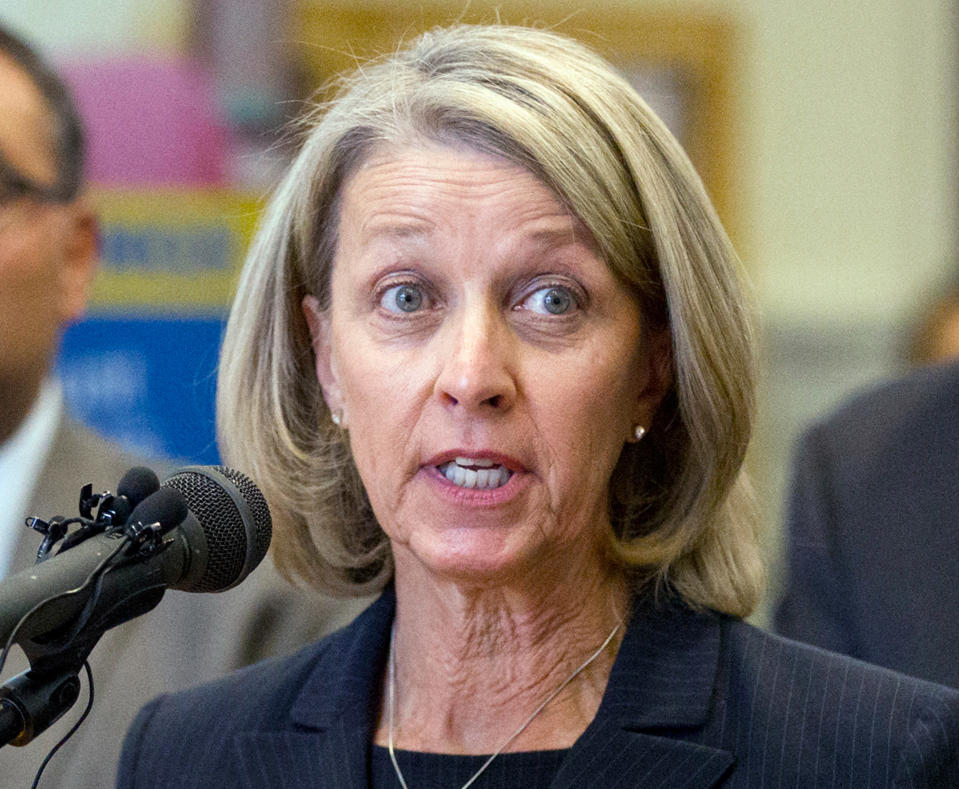 """FILE - In this Oct. 18, 2016, file photo, Nevada's Secretary of State Barbara Cegavske speaks during a news conference in Las Vegas. Republicans in Nevada are calling for an investigation into a vote last month to censure the GOP secretary of state after allegations emerged that the balloting was swayed by activists with ties to the far-right Proud Boys extremist group. They called for the Nevada Republican Party to review and disclose who attended the censure vote of Cegavske. The Nevada Republican Party disputed the allegations and the statements made by their fellow party members as """"slanderous lies."""" (Erik Verduzco/Las Vegas Review-Journal via AP, File)"""