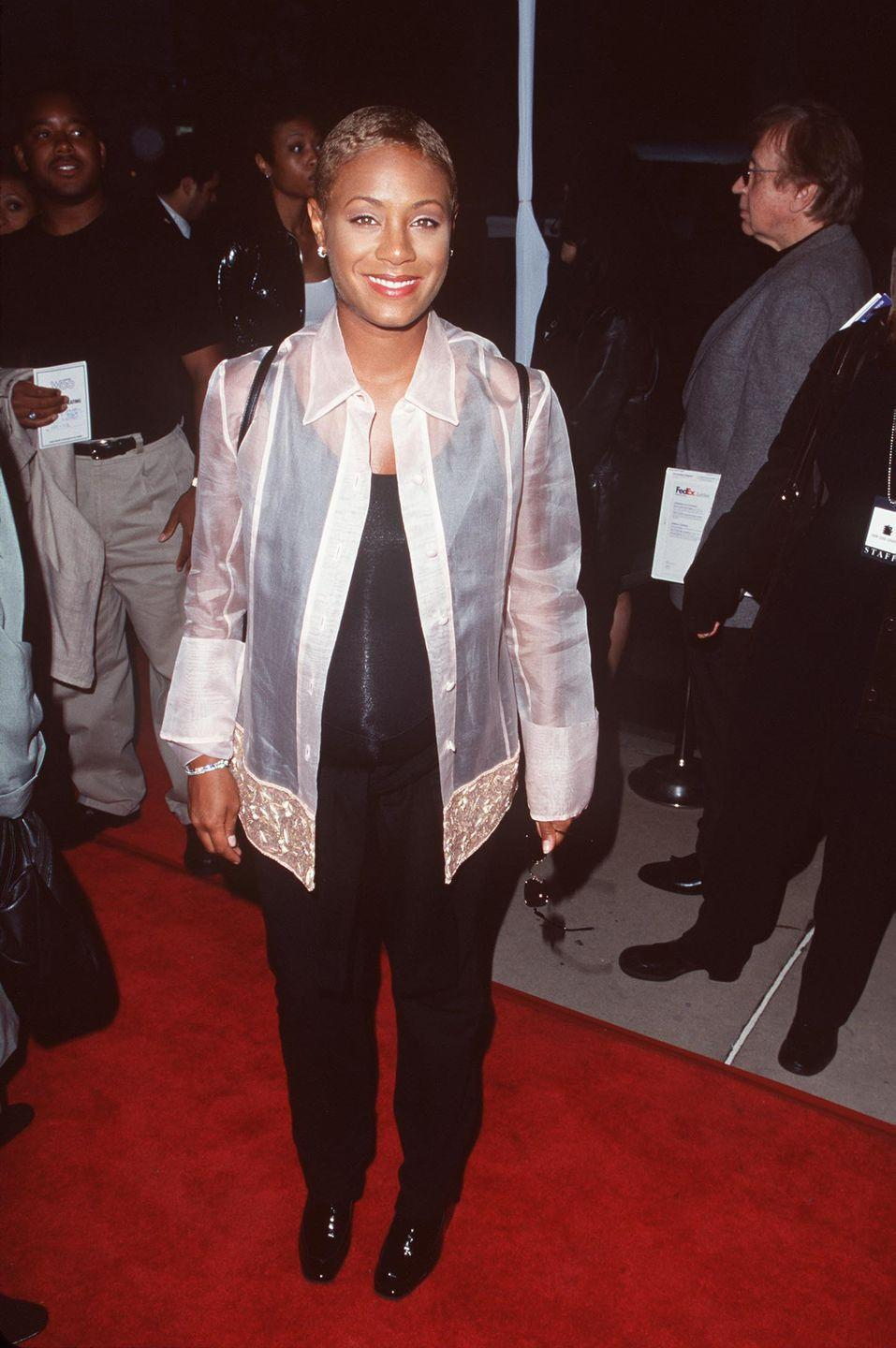 <p>We'll cut Jada some slack since she was pregnant at the <em>Woo</em> premiere, but still: this see-through white button down is just so '90s. You can't not comment on it!</p>