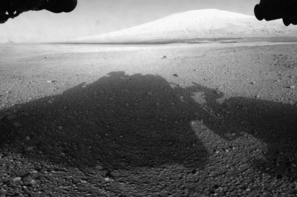 Surface of Mars is seen from NASA's Curiosity rover front hazard avoidance cameras underneath the rover deck (Getty Images)