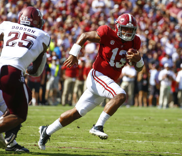 Alabama quarterback Tua Tagovailoa (13) was the Heisman frontrunner before the SEC championship. (AP file photo)