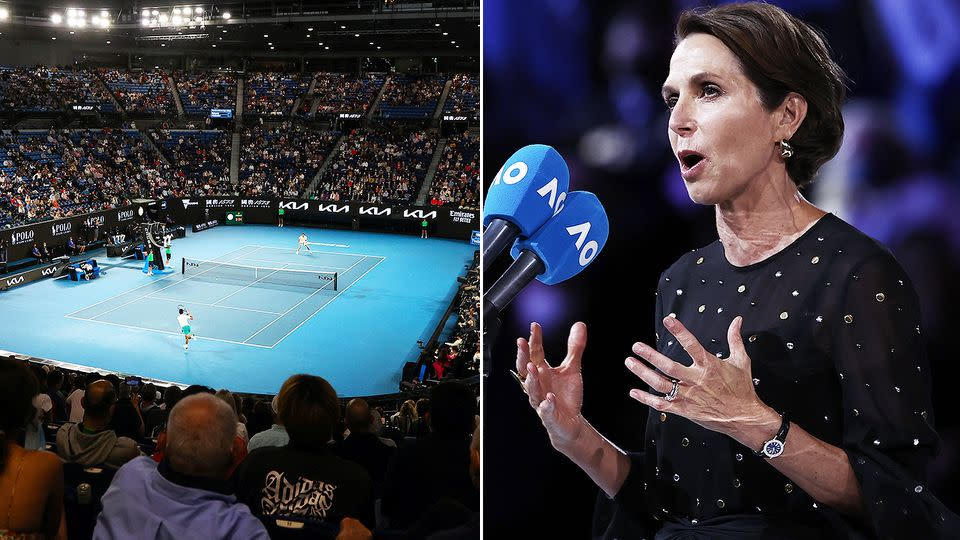 Pictured here, Tennis Australia chair Jayne Hrdlicka addresses the crowd at Rod Laver Arena.
