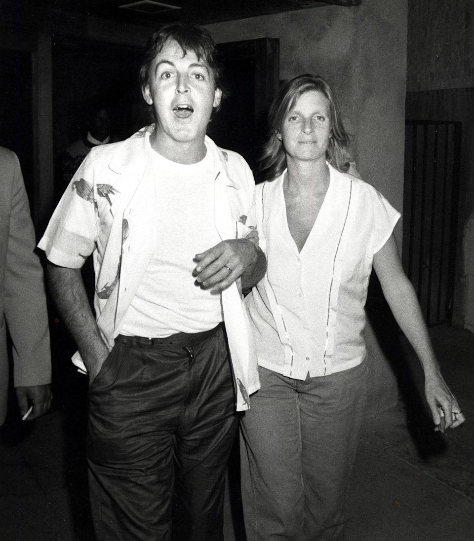<p>The ultimate family man (pictured here with his first wife, Linda McCartney) was still cool heading into 40, having been arrested for marijuana possession two years earlier. In 1982, he collaborated with Stevie Wonder on the hit <em>Ebony and Ivory</em>. </p>