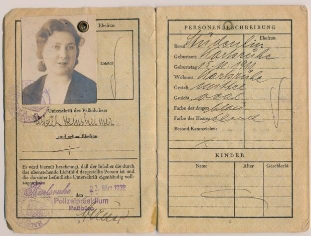 Carla Wainwright's grandmother, Elsbeth Heinsheimer, whose 1932 passport is seen here, was born in Germany, but stripped of her citizenship by a Nazi-era law because she was Jewish. (Submitted by Frances Heinsheimer Wainwright - image credit)