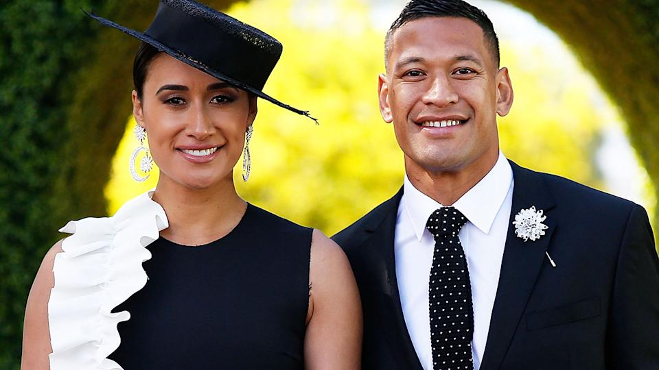 Maria and Israel Folau, pictured here at Victoria Derby Day in 2017.