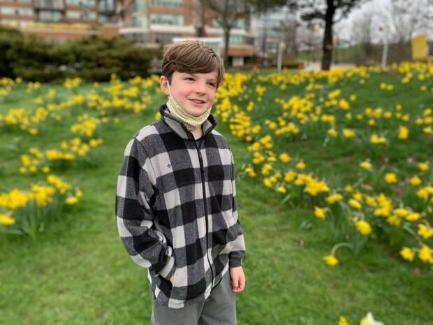 Jennifer Brenton DeCoste snapped this photo of her son, Bren, at the garden. In her Facebook caption, Jennifer said: 'A special place in our community to make the best of a lockdown day.' (Facebook - image credit)