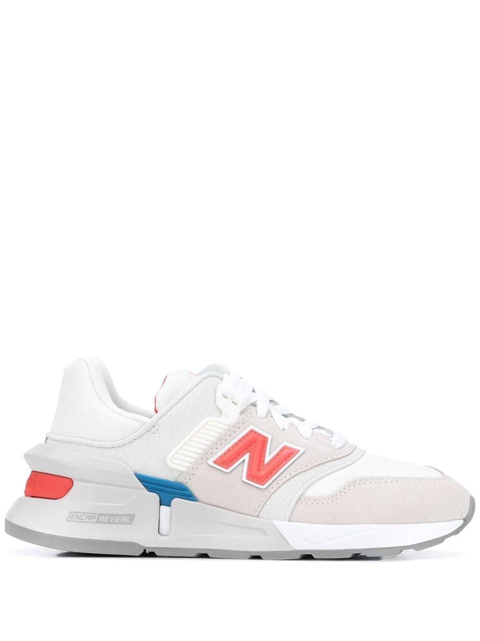 """<p>""""Living in sneakers isn't going to change anytime soon, so I'm building my collection accordingly. These <span>New Balance 997 Sport Sneakers</span> ($107, originally $153) have just the right pops of color on a chunky, retro silhouette I love.""""</p>"""