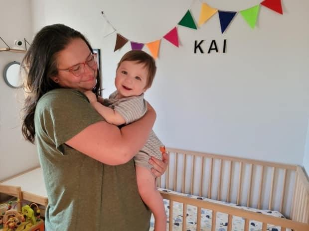 Jasmine Evanson holds her 10-month-old son, Kai. the of Maple Ridge mother says the isolation of early lockdown caused severe anxiety from the first trimester of her pregnancy onward. (Submitted by Jasmine Evanson - image credit)
