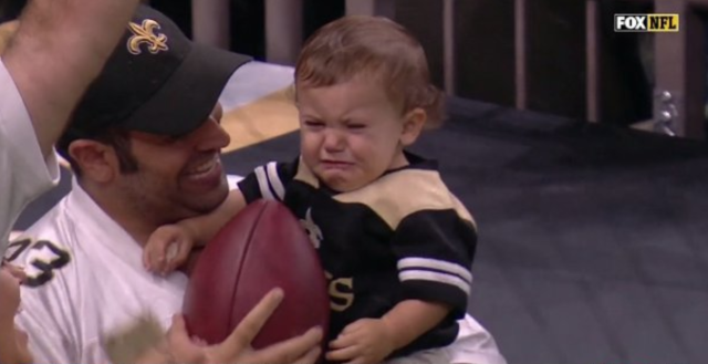 Saints Baby, crying. Of course. (Via screenshot)