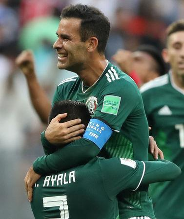 Soccer Football - World Cup - Group F - Germany vs Mexico - Luzhniki Stadium, Moscow, Russia - June 17, 2018 Mexico's Hugo Ayala and Rafael Marquez celebrate after the match REUTERS/Carl Recine/File Photo
