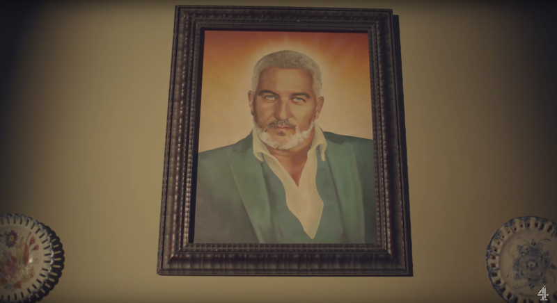 One baker gets down to pray in front of a portrait of Paul Hollywood (YouTube/Channel 4)