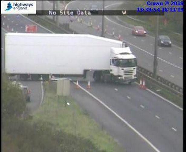 A lorry did a u-turn on the M5 (Picture: Highways England)
