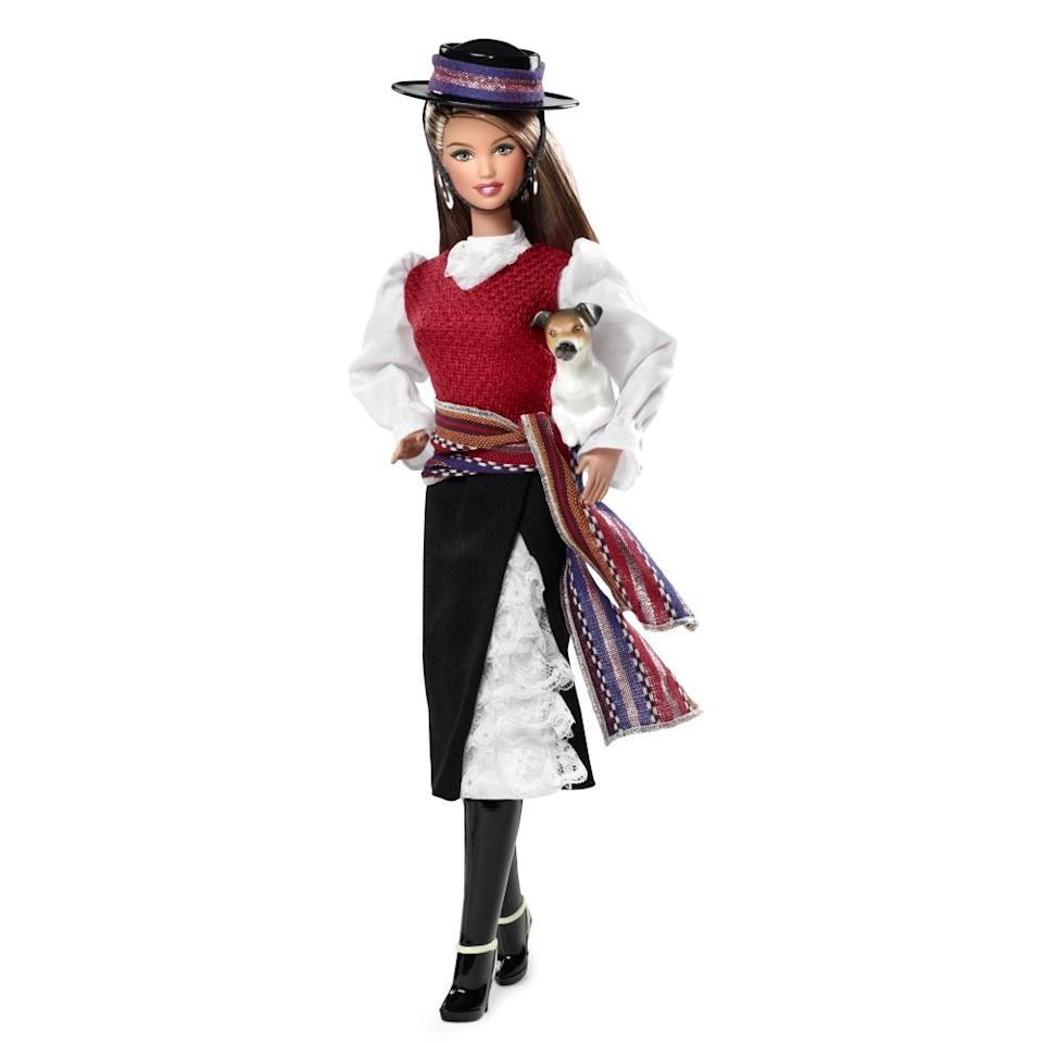 """<div class=""""caption-credit"""">Photo by: Mattel.com</div><b><div class=""""caption-title"""">Chile Barbie</div></b>""""It would be nice to see some contemporary images from these countries,"""" Felix Sanchez, chairman and co-founder of the National Hispanic Foundation for the Arts, <a href=""""http://latino.foxnews.com/latino/lifestyle/2013/04/09/barbies-dolls-world-spark-debate-over-cultural-stereotypes/"""" rel=""""nofollow noopener"""" target=""""_blank"""" data-ylk=""""slk:told Fox News Latino"""" class=""""link rapid-noclick-resp"""">told Fox News Latino</a>. """"These images seem very dated and seem to have been created for a different time."""" The 2013 Chile Barbie was wears clothing inspired by Chilean horsemen called huaso, though her skirt is now significantly shorter than it was back in 1998."""