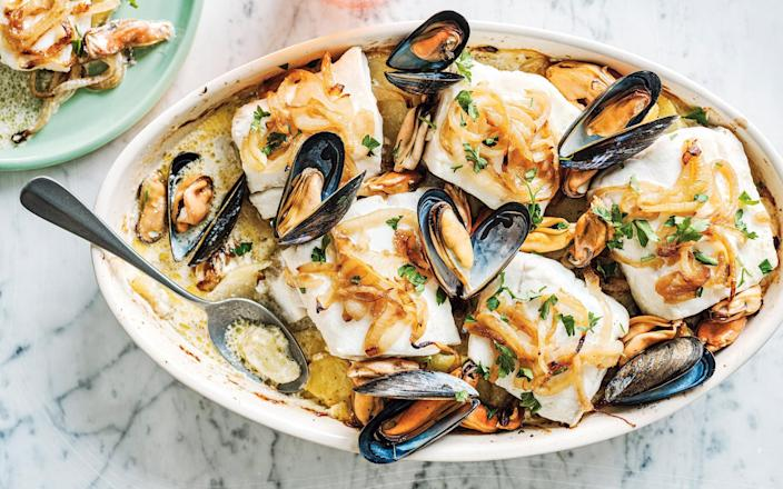 Cod and mussels