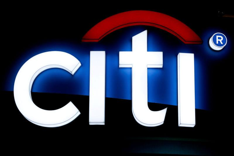 FILE PHOTO: The logo of Citibank is pictured at an exhibition hall in Bangkok