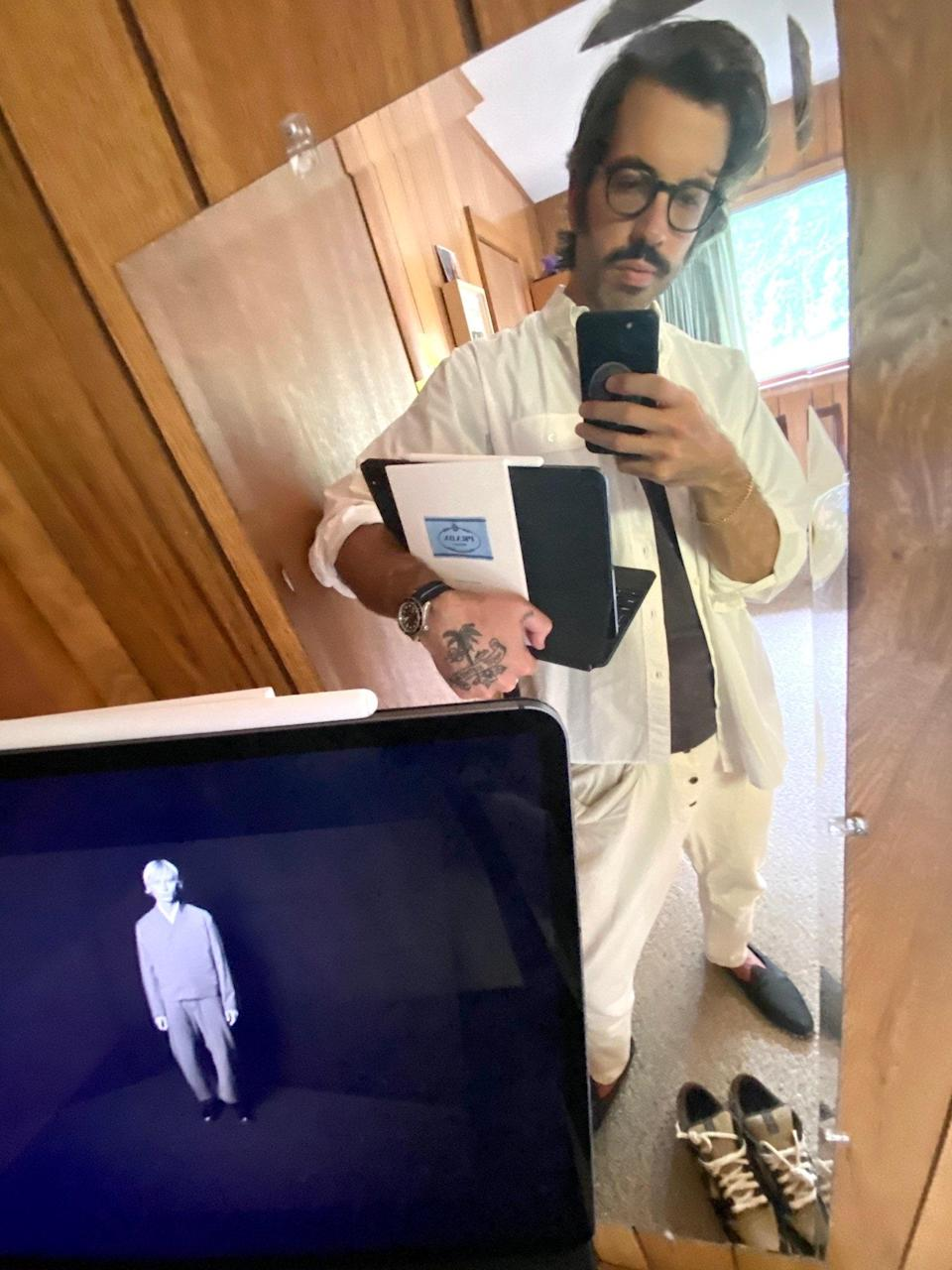 <p>I'm dressing as E-Z as possible in Quar, but most days I feel I need a shirt collar as a small sign of respect to the very real GQ business going down on Zoom. Kapital Sarouel Nouvelle pants have quickly become definitive Quar gear.</p> <p>Shirt - RTH</p> <p>Tee - Our Legacy</p> <p>Pants - Kapital</p> <p>Watch - Tudor</p> <p>Shoes - Sabah</p> <p>Sneakers - Cactus Jack Nike</p> <p>Bracelet - The Great Frog</p>