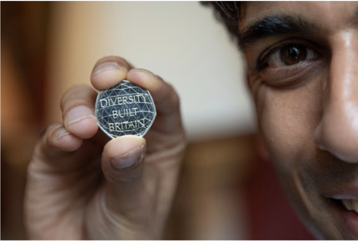 Chancellor Rishi Sunak shows the new 'Diversity Built Britain' 50p coin, which will go into rotation next week. Photo: HM Treasury