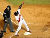 Oct 23, 2018; Boston, MA, USA; Boston Red Sox pinch hitter Eduardo Nunez (36) celebrates after hitting a three run home run against the Los Angeles Dodgers in game one of the 2018 World Series at Fenway Park. Mandatory Credit: Greg M. Cooper-USA TODAY Sports