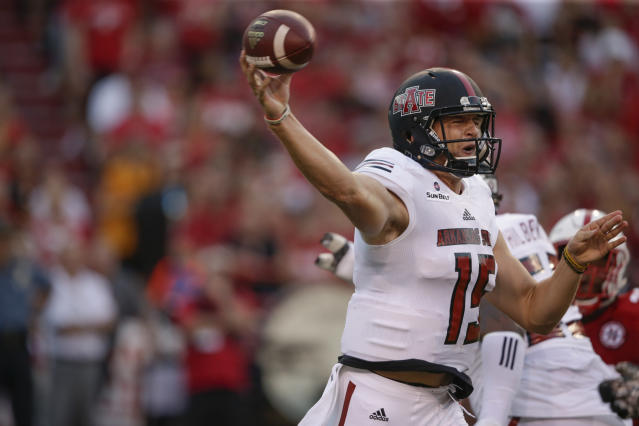 Arkansas State quarterback Justice Hansen threw for nearly 4,000 yards last year. (AP Photo/Nati Harnik)