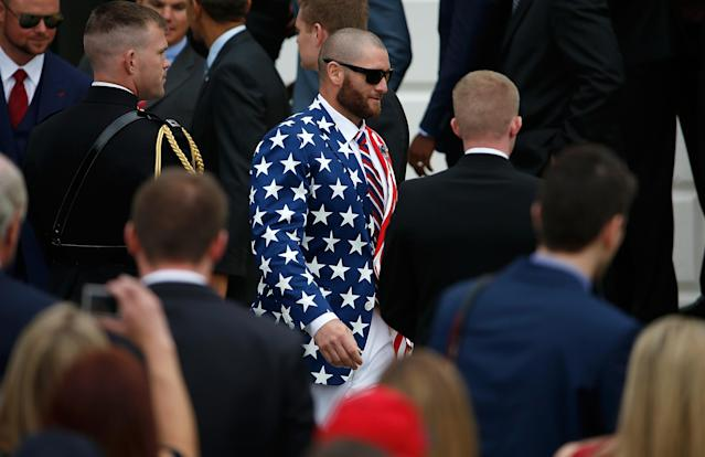 WASHINGTON, DC - APRIL 01: Boston Red Sox player Jonny Gomes departs a ceremony with U.S. President Barack Obama on the South Lawn of the White House to honor the 2013 World Series Champion Boston Red Sox April 1, 2014 in Washington, DC. The Red Sox defeated the St. Louis Cardinals in the 2013 World Series. (Photo by Win McNamee/Getty Images)