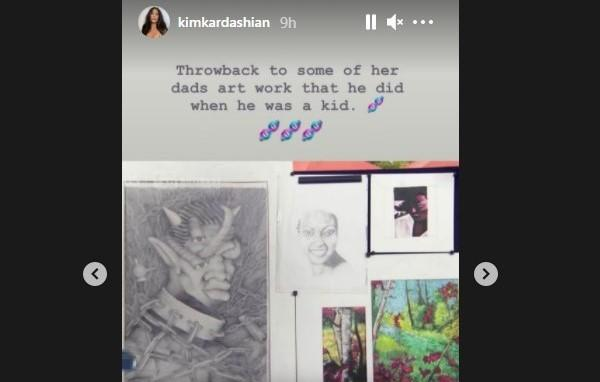 Kim shared some of husband Kanye's childhood artwork. (Kim Kardashian/Instagram)