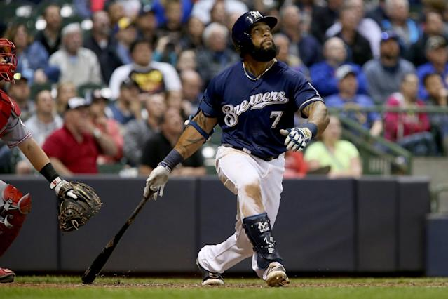 Eric Thames has 11 home runs in April and has battled PED rumors as a result. (Getty Images)