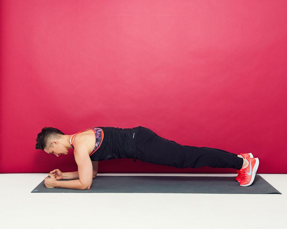 """<p>""""Holding the plank position takes strength and endurance in your abs, back, and core. The plank is one of the best exercises for core conditioning, but it also works your glutes and h<a href=""""https://www.self.com/gallery/hamstring-exercises?mbid=synd_yahoo_rss"""" rel=""""nofollow noopener"""" target=""""_blank"""" data-ylk=""""slk:amstrings"""" class=""""link rapid-noclick-resp"""">amstrings</a>, supports proper posture, and improves balance. In addition, there are many <a href=""""https://www.self.com/gallery/plank-exercises?mbid=synd_yahoo_rss"""" rel=""""nofollow noopener"""" target=""""_blank"""" data-ylk=""""slk:plank progressions"""" class=""""link rapid-noclick-resp"""">plank progressions</a> that can be done from a standard plank hold.""""<br> —<a href=""""https://www.instagram.com/juliediamondfitness/"""" rel=""""nofollow noopener"""" target=""""_blank"""" data-ylk=""""slk:Julie Diamond"""" class=""""link rapid-noclick-resp"""">Julie Diamond</a>, <a href=""""http://www.burn60.com/"""" rel=""""nofollow noopener"""" target=""""_blank"""" data-ylk=""""slk:Burn 60"""" class=""""link rapid-noclick-resp"""">Burn 60</a> master trainer</p> <p>""""I love a plank because it is super simple and creates the trunk stability and strength that is necessary for nearly every other movement in fitness. It primarily works your core, but it also really engages your entire body and creates true overall tension and strength.""""<br> —<a href=""""https://www.instagram.com/alexsilverfagan/"""" rel=""""nofollow noopener"""" target=""""_blank"""" data-ylk=""""slk:Alex Silver-Fagan"""" class=""""link rapid-noclick-resp"""">Alex Silver-Fagan</a>, Nike master trainer, certified yoga instructor, and certified functional strength coach</p> <p><strong>How to do it:</strong></p> <ul> <li>Rest your forearms on the floor, with your elbows directly underneath your shoulders and hands facing forward so that your arms are parallel.</li> <li>Extend your legs out behind you and rest your toes on the floor. Your body should form one straight line from your shoulders to your heels.</li> <li>Squeeze your entire core, glutes, and quads, and tuck you"""