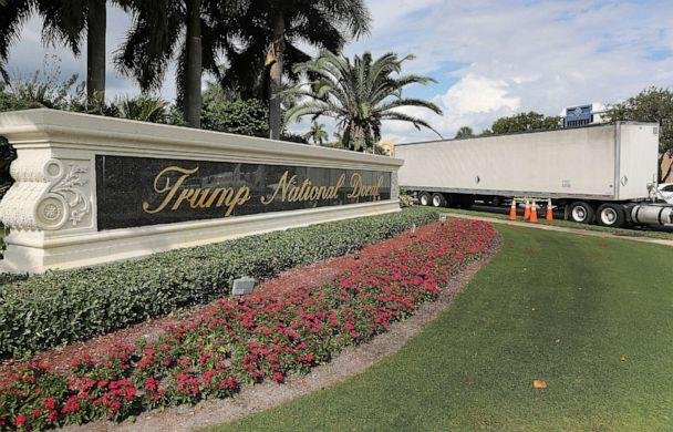 PHOTO: A sign is seen near an entrance to the Trump National Doral golf resort owned by U.S. President Donald Trump's company on Oct. 17, 2019, in Doral, Fla. (Joe Raedle/Getty Images, FILE)