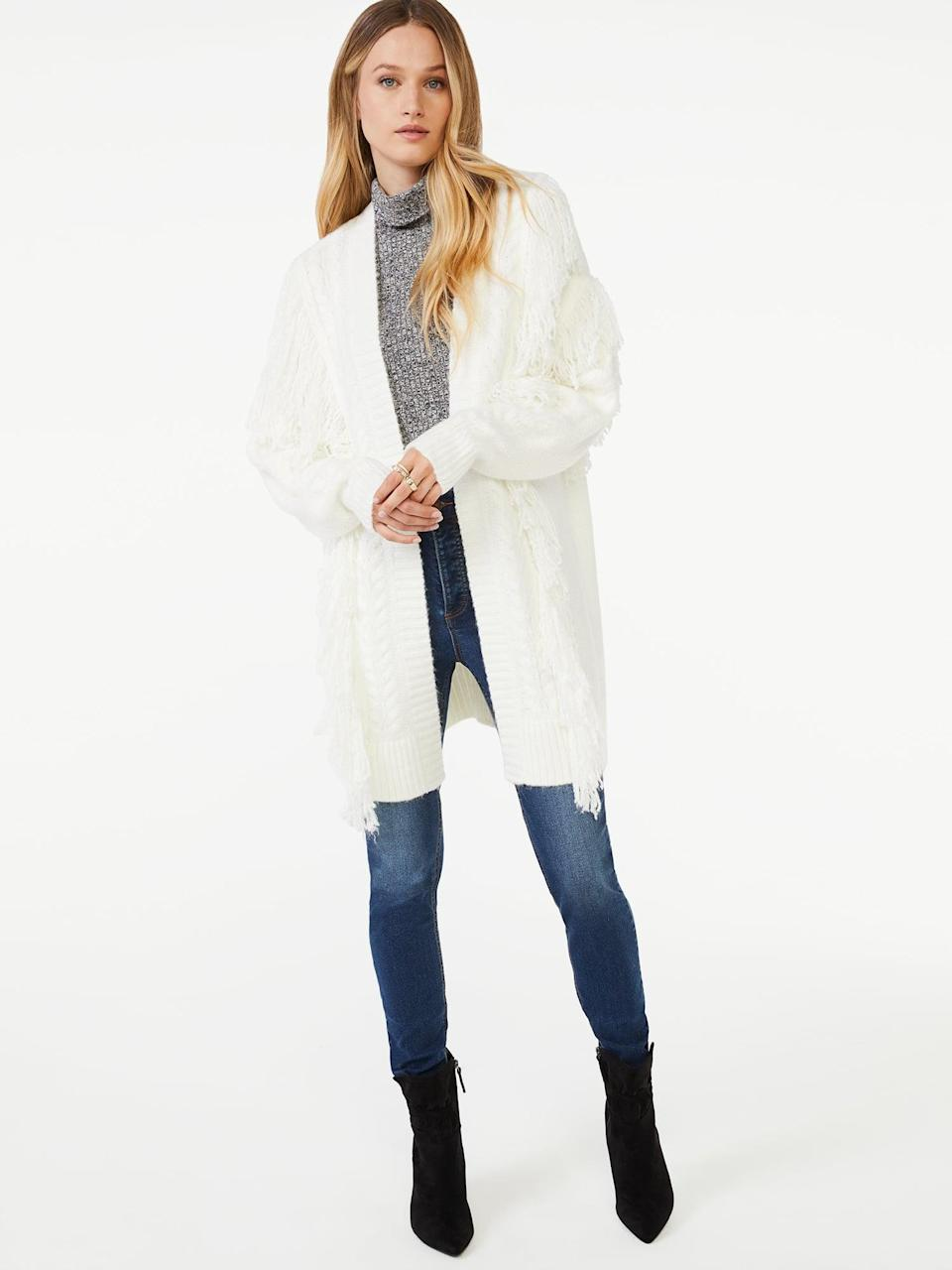 <p>The styling opportunities for this <span>Scoop Women's Fringe Cardigan Sweater with Belt</span> ($38) are endless. </p>