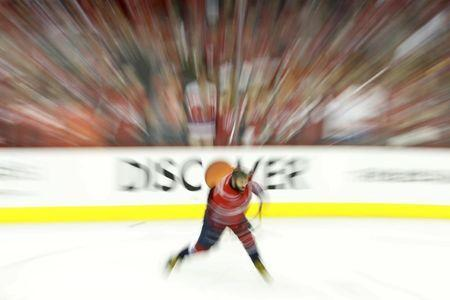 Jun 4, 2018; Washington, DC, USA; Washington Capitals left wing Alex Ovechkin (8) shoots the puck during warm ups prior to the Capitals' game against the Vegas Golden Knights in game four of the 2018 Stanley Cup Final at Capital One Arena. Mandatory Credit: Geoff Burke-USA TODAY Sports