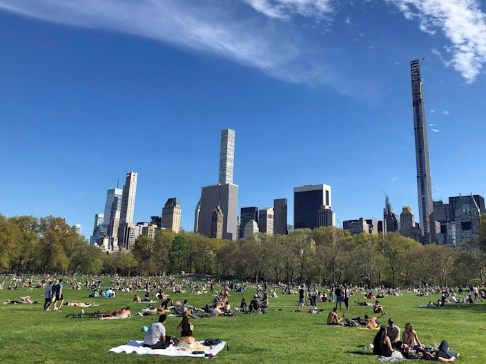 People relax in Central Park in New York City