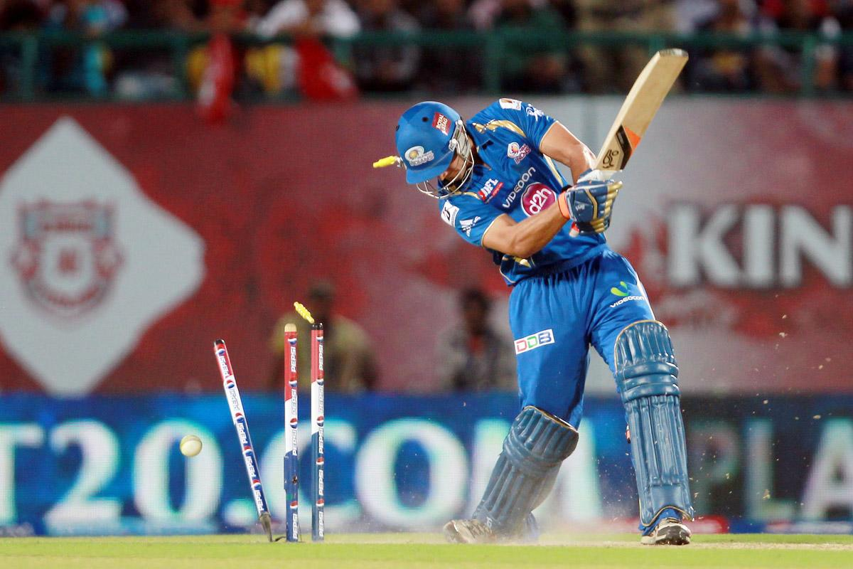 Nathan Coulter-Nile is bowled by Azhar Mahmood during match 69 of the Pepsi Indian Premier League between The Kings XI Punjab and the Mumbai Indians held at the HPCA Stadium in Dharamsala, Himachal Pradesh, India on the on the 18th May 2013. (BCCI)
