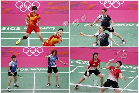 BADMINTON SCANDAL: A combination image shows the women's doubles pair of (clockwise from top left) China's Wang Xiaoli (L) and Yang Yu, South Korea's Jung Kyung Eun (Top) and Kim Ha Na, Indonesia's Greysia Polii and Meiliana Jauhari and South Korea's Ha Jung-eun (L) and Kim Min-jung during their matches during the London 2012 Olympics.