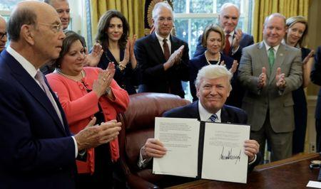 U.S. President Trump signs a Memorandum on Aluminum Imports and Threats to National Security at the White House in Washington