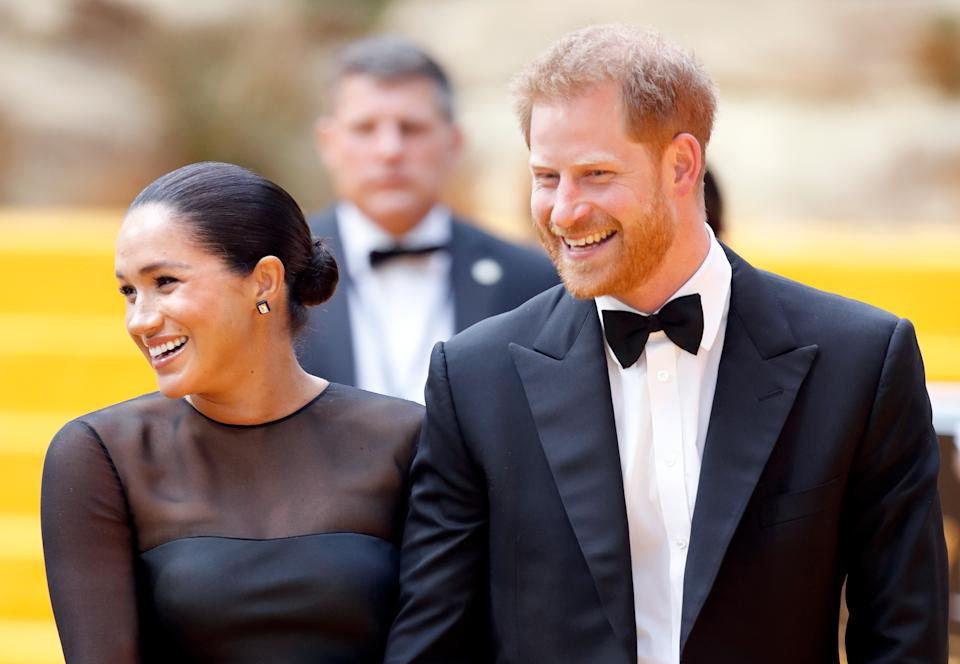 "LONDON, UNITED KINGDOM - JULY 14: (EMBARGOED FOR PUBLICATION IN UK NEWSPAPERS UNTIL 24 HOURS AFTER CREATE DATE AND TIME) Meghan, Duchess of Sussex and Prince Harry, Duke of Sussex attend ""The Lion King"" European Premiere at Leicester Square on July 14, 2019 in London, England. (Photo by Max Mumby/Indigo/Getty Images)"