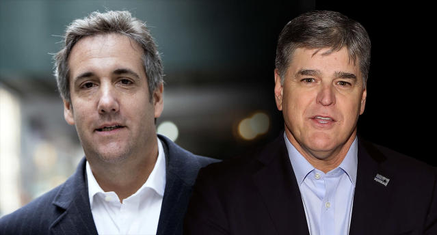 Michael Cohen and Sean Hannity. (Photo illustration: Yahoo News; photos: Mary Altaffer/AP, Taylor Hill/WireImage via Getty Images)
