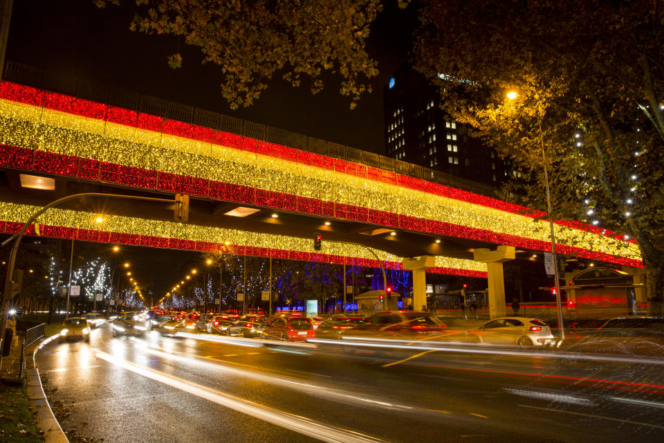 MADRID, SPAIN - NOVEMBER 27: Christmas lights featuring the Spanish flag decorate the Juan Bravo bridge over Paseo de la Castellana on November 27, 2020, in Madrid, Spain. The Madrid council has increased their budget for the traditional Christmas lights to 3.17 million euros this year, amid measures to control the coronavirus pandemic. The council has also included lights in the design of the Spanish flag measuring up to one kilometer as a new feature in this year's installation. (Photo by Miguel Pereira/Getty Images)