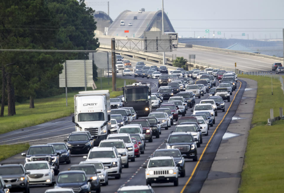 Interstate 10 in Louisiana was packed with evacuees heading east before Ida made landfall. Source: The New Orleans Advocate via AP