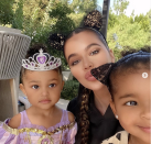 """<p>Stormi as a purple princess (seemingly Rapunzel from <em>Tangled</em>), Khloé as a mouse, and True as a cat.</p><p>Khloé <a href=""""https://www.instagram.com/p/CGLnmAPB83U/"""" rel=""""nofollow noopener"""" target=""""_blank"""" data-ylk=""""slk:shared the selfie on October 10"""" class=""""link rapid-noclick-resp"""">shared the selfie on October 10</a>, writing on her Instagram, """"🎃👻Collecting Memories With My Favorite People👻🎃""""</p>"""