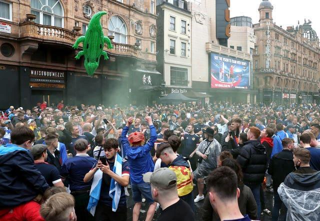 An inflatable crocodile was among the Scotland fans gathered in Leicester Square