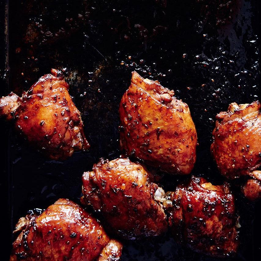 """A little bit of sweetness from the honey makes these chicken thighs especially appealing to pint-sized palates. <a href=""""https://www.epicurious.com/recipes/food/views/soy-glazed-chicken-thighs-with-asparagus-and-scallions-51233840?mbid=synd_yahoo_rss"""" rel=""""nofollow noopener"""" target=""""_blank"""" data-ylk=""""slk:See recipe."""" class=""""link rapid-noclick-resp"""">See recipe.</a>"""