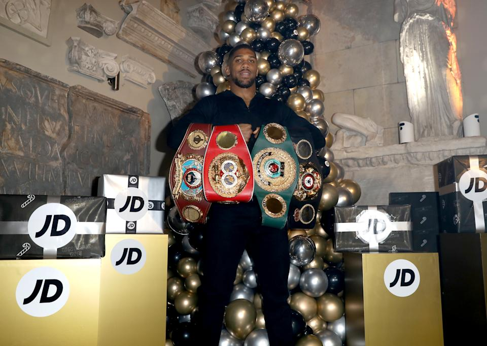 BANBURY, ENGLAND - DECEMBER 17: Anthony Joshua attends JD Comes Alive: JD's blockbuster Christmas party at Aynhoe Park on December 17, 2019 in Banbury, England. (Photo by Tristan Fewings/Getty Images for JD)