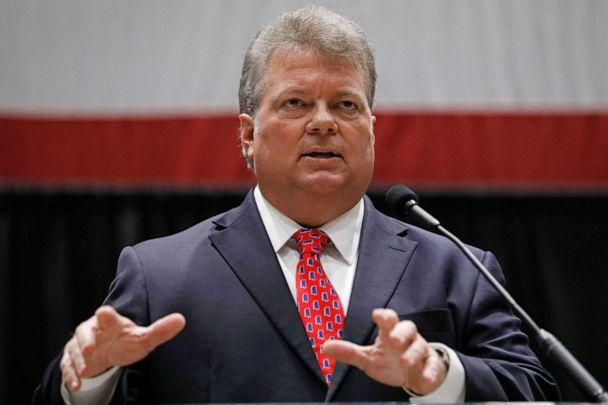 PHOTO: Democratic nominee for governor, Mississippi's Attorney General Jim Hood, addresses business leaders at the Mississippi Economic Council's annual 'Hobnob Mississippi,' in Jackson, Miss., Oct. 31, 2019. (Rogelio V. Solis/AP)