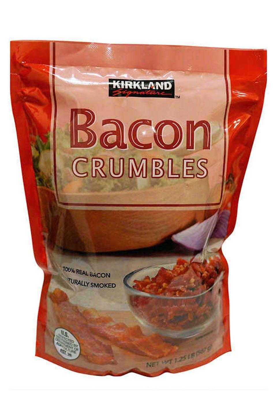 """<p>Sure, that bacon we just talked about is great, but these it-takes-no-effort-to-put-real-bacon-on-ANYTHING <a href=""""https://www.costco.com/Kirkland-Signature-Crumbled-Bacon%2c-20-oz..product.100334421.html"""" rel=""""nofollow noopener"""" target=""""_blank"""" data-ylk=""""slk:bacon crumbles"""" class=""""link rapid-noclick-resp"""">bacon crumbles</a>...</p>"""