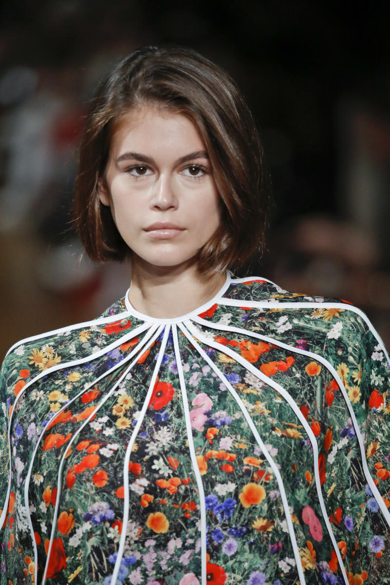 PARIS, FRANCE - SEPTEMBER 30: Kaia Gerber walks the runway during the Stella McCartney Ready to Wear Spring/Summer 2020 fashion show as part of Paris Fashion Week on September 30, 2019 in Paris, France. (Photo by Victor VIRGILE/Gamma-Rapho via Getty Images)
