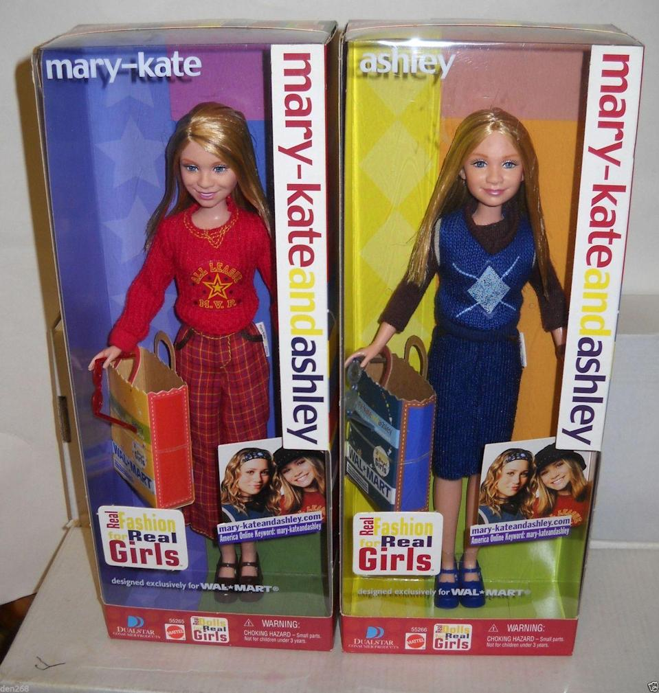 "<p>Was it a '00s sleepover if a movie from the dynamic twin duo didn't make an appearance during the night? While the twins' films are easier to come by, their dolls are not. These two, pictured here, <a href=""https://www.ebay.com/itm/6565-RARE-NRFB-Mattel-Walmart-Mary-Kate-Ashley-Fashions-For-Real-Girls-Dolls/401733966008?hash=item5d8935d8b8:g:8gYAAOSwdpxUWSu6"" rel=""nofollow noopener"" target=""_blank"" data-ylk=""slk:are worth a very normal price of $308."" class=""link rapid-noclick-resp"">are worth a very normal price of $308.</a> </p>"