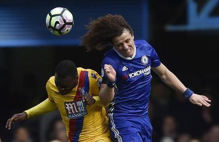 Chelsea's David Luiz in action with Crystal Palace's Christian Benteke