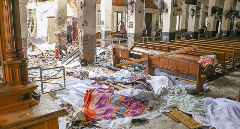 An inside view of the St Anthony's church after an explosion hit. Source: Chamila Karunarathne/Getty